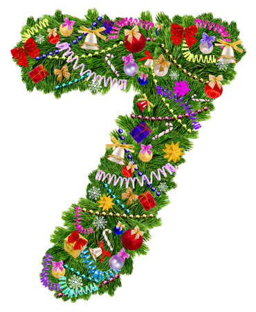 Number 7. Christmas tree decoration on a white background