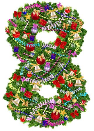 数 8 です。白い背景の上のクリスマス ツリーの装飾 写真素材