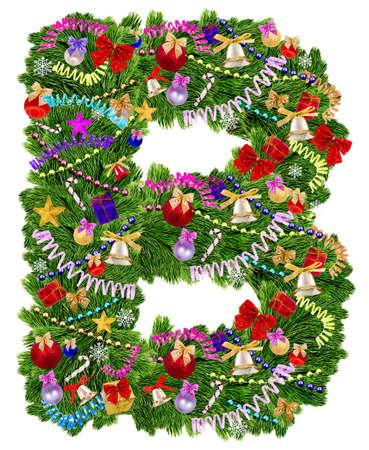 uppercase: Letra A La decoraci�n de Navidad �rbol sobre un fondo blanco