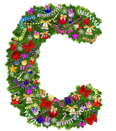 letter c: Letter C  Christmas tree decoration on a white background