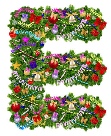 uppercase: Letra E decoraci�n del �rbol de Navidad sobre un fondo blanco Foto de archivo