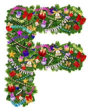 uppercase: Letra F Decoraci�n de Navidad �rbol sobre un fondo blanco