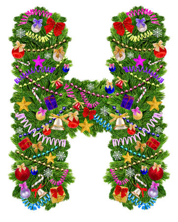 Letter H  Christmas tree decoration on a white background photo