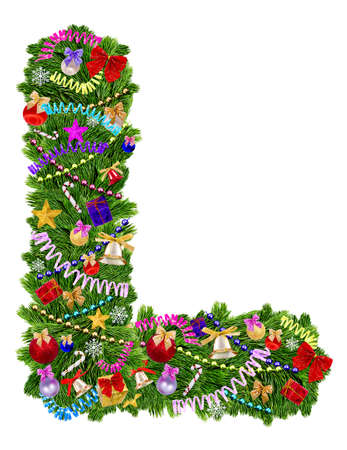uppercase: Letter L  Christmas tree decoration on a white background