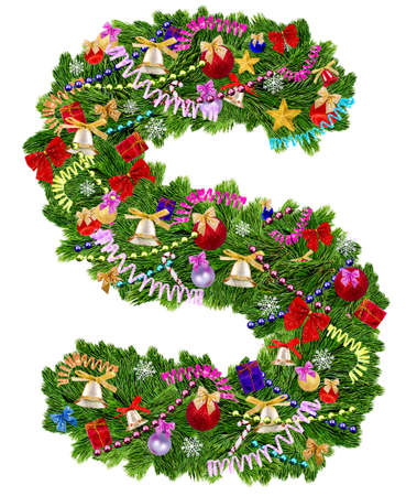 Letter S  Christmas tree decoration on a white background