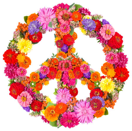 happiness symbol: sign peace from flowers on white background   Stock Photo