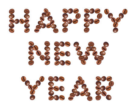 Happy New Year,  made of beans coffee photo