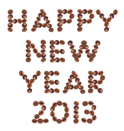 New Year 2013 made of beans coffee photo