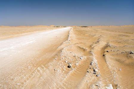 Road and Village Al-Hashman in the desert, Oman Stock Photo - 16702848