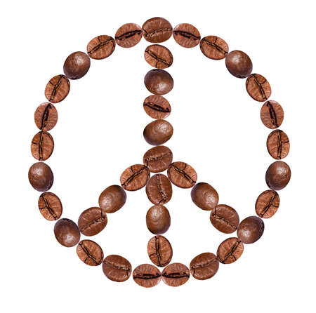 peace label: peace sign  from coffee on white background.