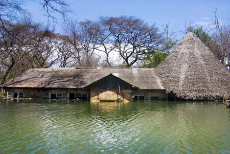 water damage: flooded house at Lake Baringo, Kenya