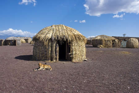 tribo: Cabanas africanas tradicionais, lago Turkana, no Qu