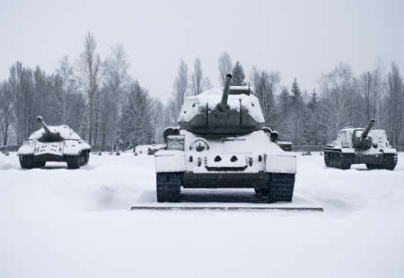 Russian  Tanks in Prokhorovka. This is place  of largest tank battle in the history of WW II. Russia Stock Photo - 18707109