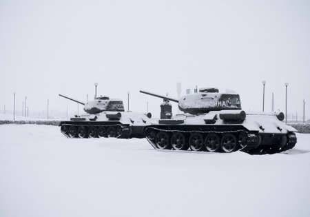 Russian  Tanks in Prokhorovka. This is place  of largest tank battle in the history of WW II. Russia Stock Photo - 18706972