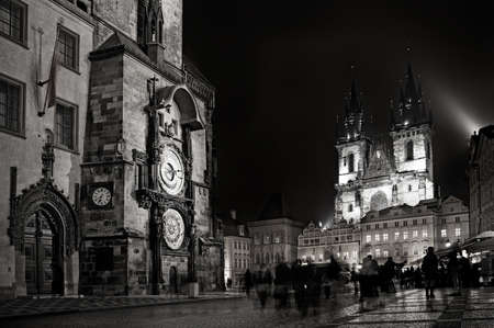 Old medieval astronomical clock in Czech capital Prague photo
