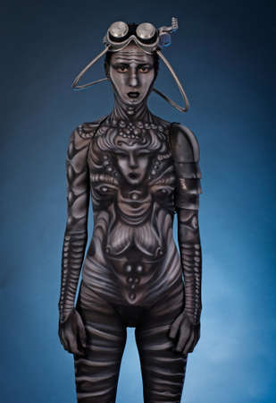 bodypaint: Portrait of an artistic woman painted  colors.Body Art project.  Stock Photo