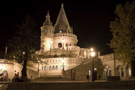 schulek: Fishermans bastion night view, Budapest, Hungary