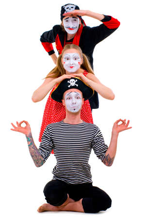 Funny portrait of mimes isolated on white background  photo
