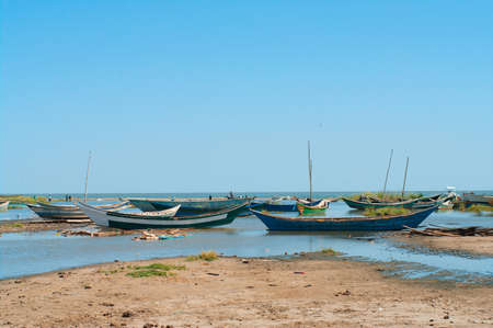 African traditional fishing boats at lake Turkana, Kenya photo