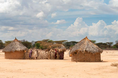 Traditional african  huts in  Kenya  photo