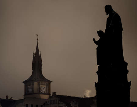 Statues on the Charles bridge, Prague in Czech Republic  photo