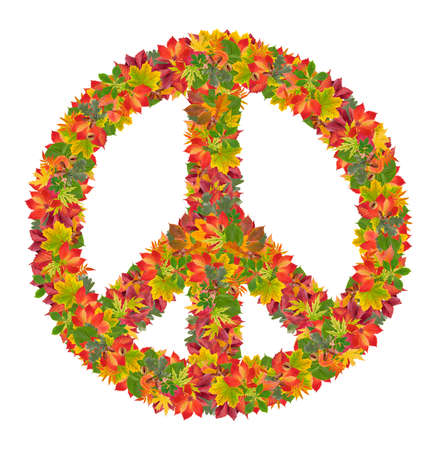 peace sign from colorful leaves on white background photo