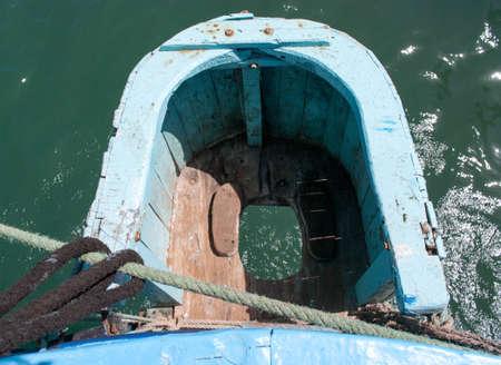 latrine: toilet on the old ship Stock Photo