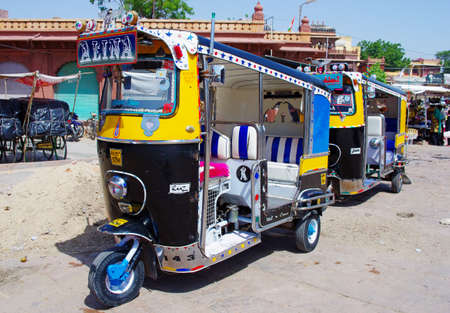 auto rickshaw: JODHPUR, INDIA - SEPT 20: Auto rickshaw taxi on sept 20, 2013 in Jodhpur, India. These  taxis are popular type of transport among locals and tourists.