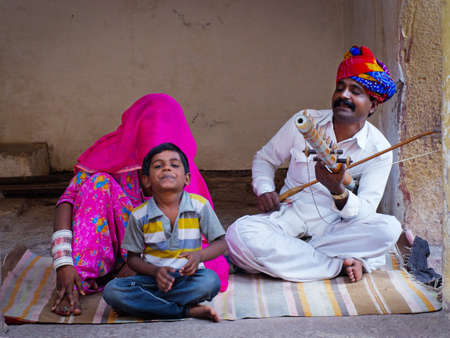 JODHPUR, INDIA - SERT 20:  Indian musicians in traditional dress playing musical instruments in Meherangarh fort, on sept 20, 2013 in Jodhpur, India