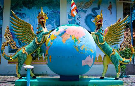 blissfull: Statue in Dharmikarama burmese temple on island Penang, Malaysia