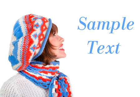 Pretty woman in winter outfits on a white background  Sample text space to the right photo