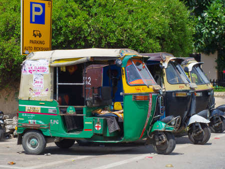 auto rickshaw: JAIPUR, INDIA - SEPT 26: Auto rickshaw taxi on sept 26, 2013 in Jaipur, India. These taxis are popular type of transport among locals and tourists.  Editorial