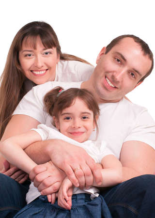 Beautiful happy family,  isolated over a white background  photo