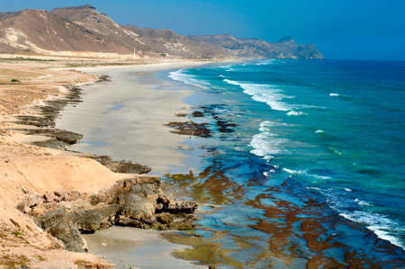 oman background: Beach near Al Mughsayl, Salalah, Oman  Stock Photo