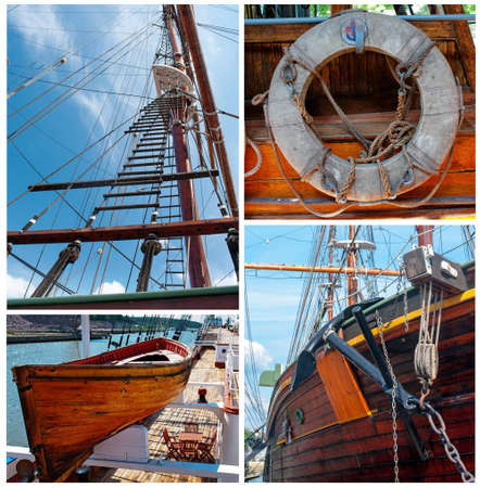 Collage of details of old traditional sailing vessels  photo