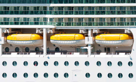 stateroom:  The main deck with lifeboats on the cruise ship Stock Photo