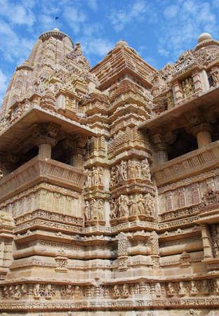 khajuraho: Temple in Khajuraho. Madhya Pradesh, India  Stock Photo