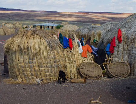 Traditional african huts, Lake Turkana, Kenya  photo