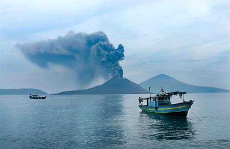 Boat near Anak Krakatau. Volcano eruption. Indonesia