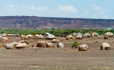 Huts near Lake Turkana, Kenya  photo