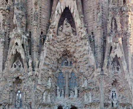 lia: BARCELONA, SPAIN - JULY 10, 2014:  Detail of Sagrada Familia church (Temple Expiatori de la Sagrada Família)  in Barcelona, Spain. Designed by Antoni Gaudi,  UNESCO World Heritage Site.  Editorial