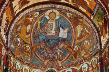hypothetical: TAULL, SPAIN - JULY 18, 2014: Church Sant Climent de Taull. The hypothetical reconstruction of the entire ensemble fresco paintings (projection show).
