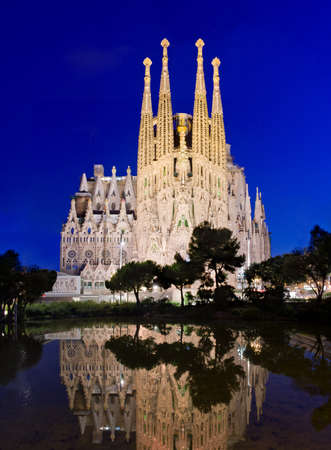 BARCELONA, SPAIN - JULY 12, 2014: Sagrada Familia church (Temple Expiatori de la Sagrada Famalia) in Barcelona, Spain. Designed by Antoni Gaudi, UNESCO World Heritage Site.