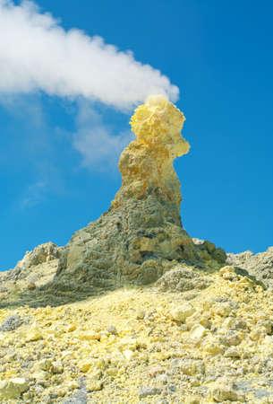 Sulfur of Ebeko  Volcano, Paramushir Island, Kuril Islands, Russia Stock Photo