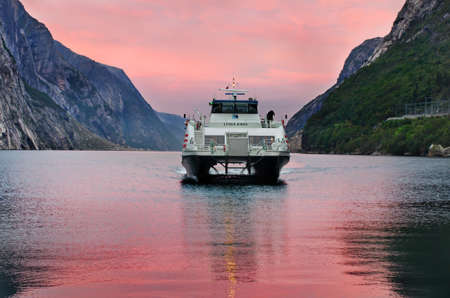 LYSEBOTN, NORWAY - SEPT 23: Ferry arriving in Lysebotn, after trip on the Lysefjord  on Sept 23, 2014, Norway