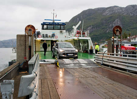 FORSAND, NORWAY - SEPT 23: Ferry  in Forsand, after trip on the Lysefjord  on Sept 23, 2014, Norway