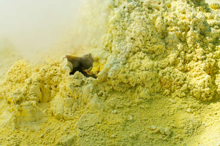 Sulfur of Ebeko  Volcano, Paramushir Island, Kuril Islands, Russia Stock Photo