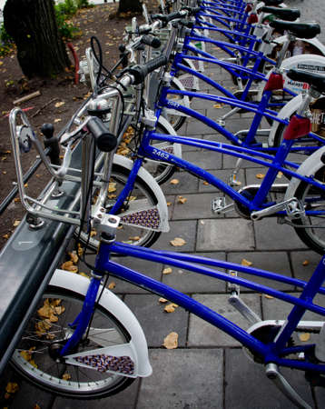 bike parking: OSLO - SEPT 20: Bike parking in Oslo, Norway on Sept 20, 2014. Bicycles are popular way to get around  Oslo.