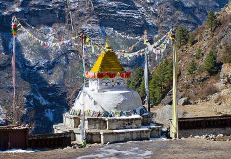 bazar: Buddhist stupa in Namche Bazar, Everest region, Nepal