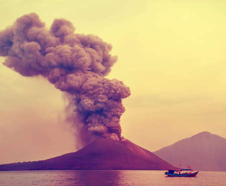 the boat amid the eruption of Anak Krakatau